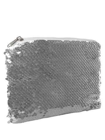 Sequin Cosmetic Pouch-Silver