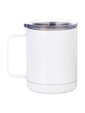 Stainless Steel Mug with handle - White