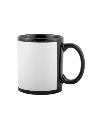Ceramic Black Mug with White printable Panel - 11oz
