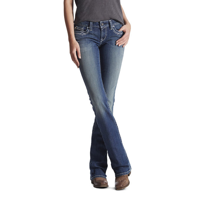 Ariat Womens R.E.A.L. Boot Cut Mid Rise Stretch Entwined Jeans