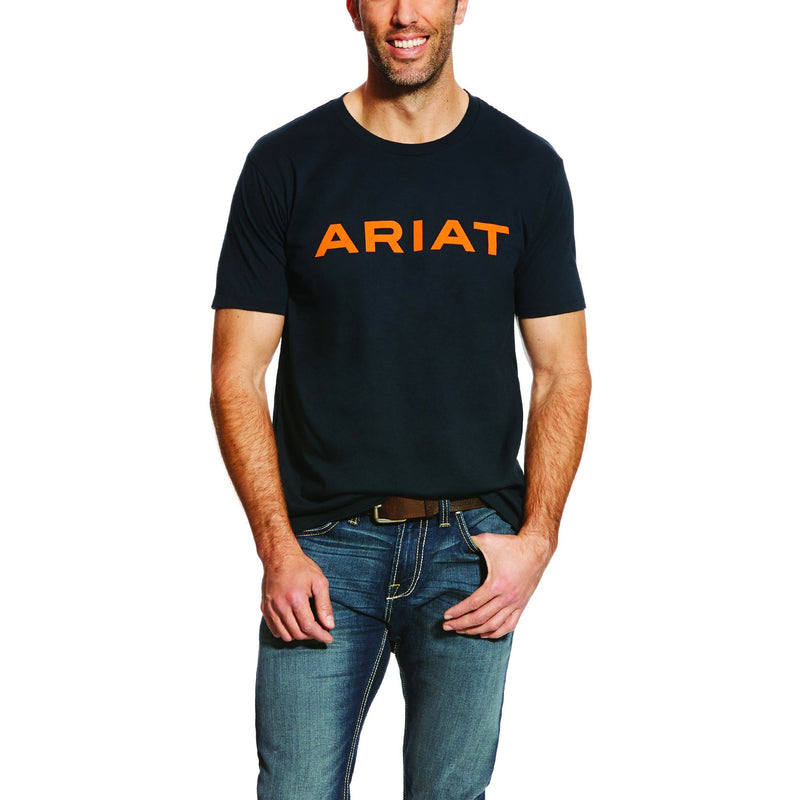 Ariat Mens Branded T-Shirt - Navy & Orange