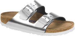 Birkenstock Arizona Metallic Silver - Natural Leather/Soft Footbed Narrow