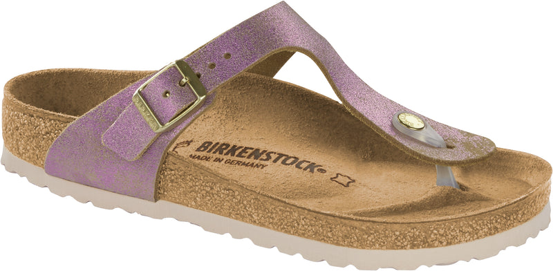 Birkenstock Gizeh Washed Metallic Pink - Suede Regular