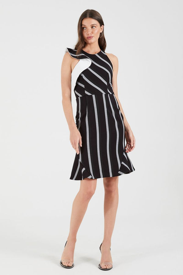 Cooper St Jasmine Stripe High Neck Fitted Dress