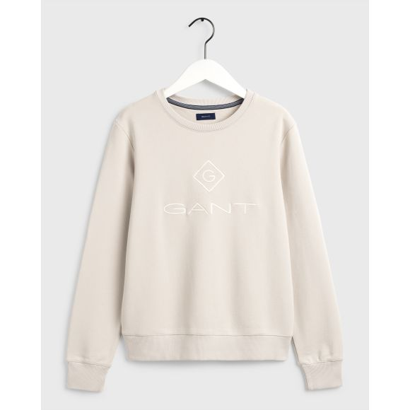 Gant Womens Logo Crew Sweatshirt - Grey & Putty