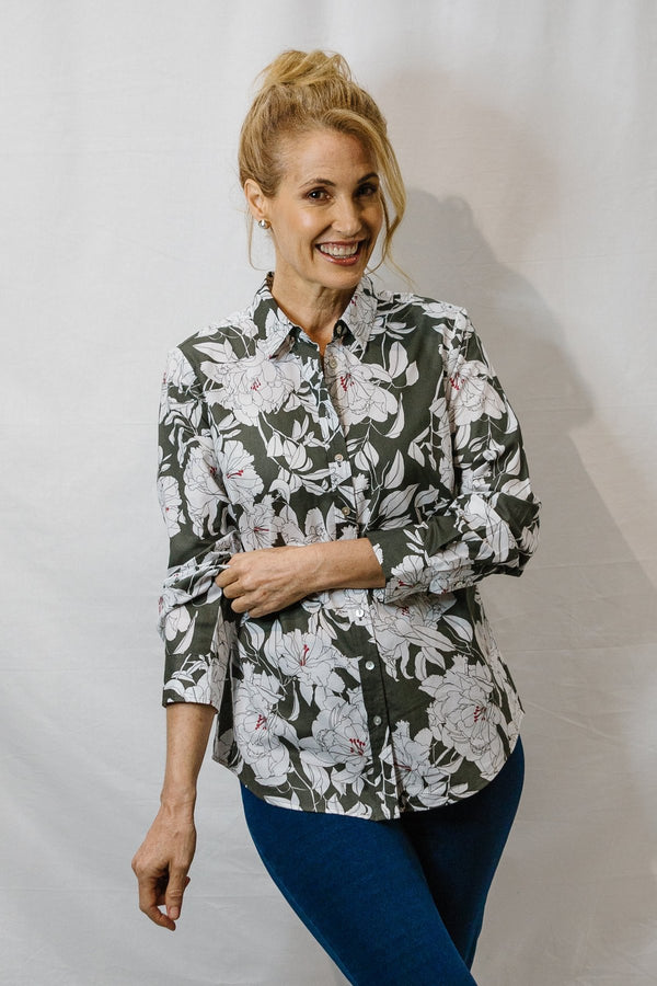 Goondiwindi Cotton Floral Print Long Sleeve Classic Shirt - Khaki and Navy