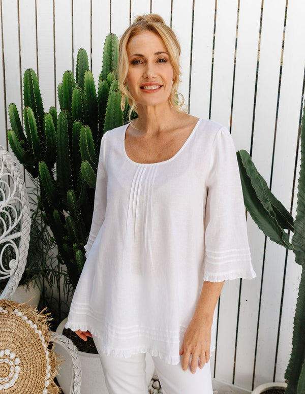 Goondiwindi Cotton 100% Linen Trapeze Blouse - White