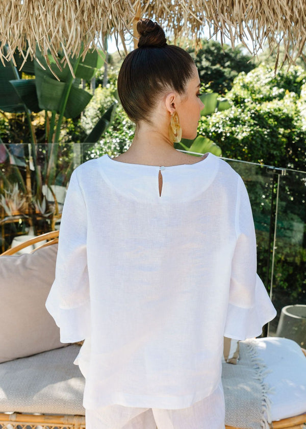 Goondiwindi Cotton 100% Linen Ruffle Sleeve Top - 5 Colours