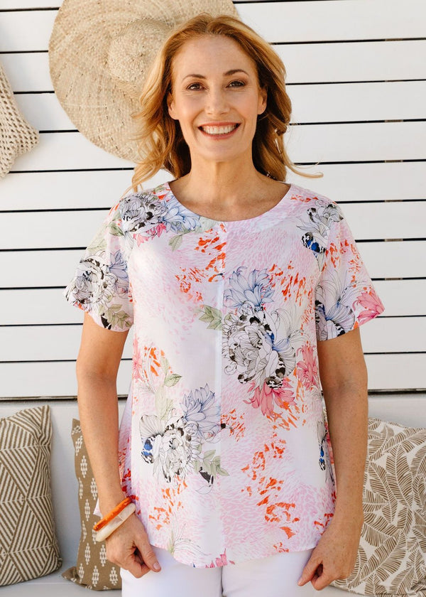 Goondiwindi Cotton Soft Floral Print 100% Cotton Short Sleeve Swing Top