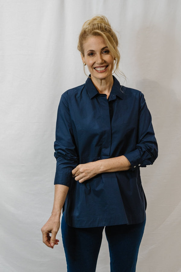 Goondiwindi Cotton 1/2 Placket Long Sleeve Shirt - Navy and White