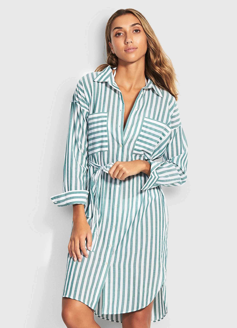 Seafolly Bandana Bay Stripe Shirt Dress
