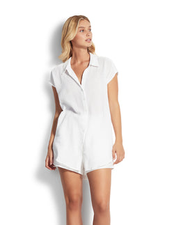 Seafolly Button Sleeveless Shirt - White & Navy