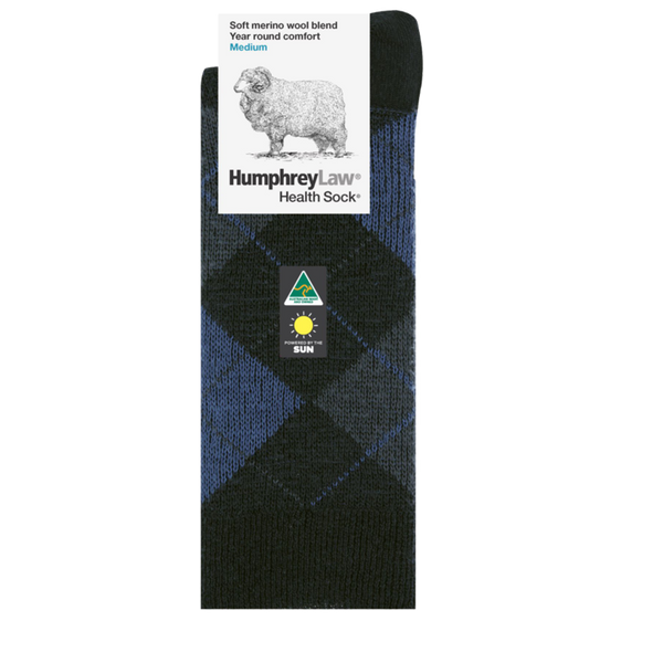 Humphrey Law Fine Merino Wool Argyle Health Sock - 3 Colours