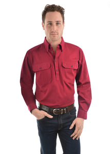 Thomas Cook Mens Heavy Drill Shirt Half Placket - Red