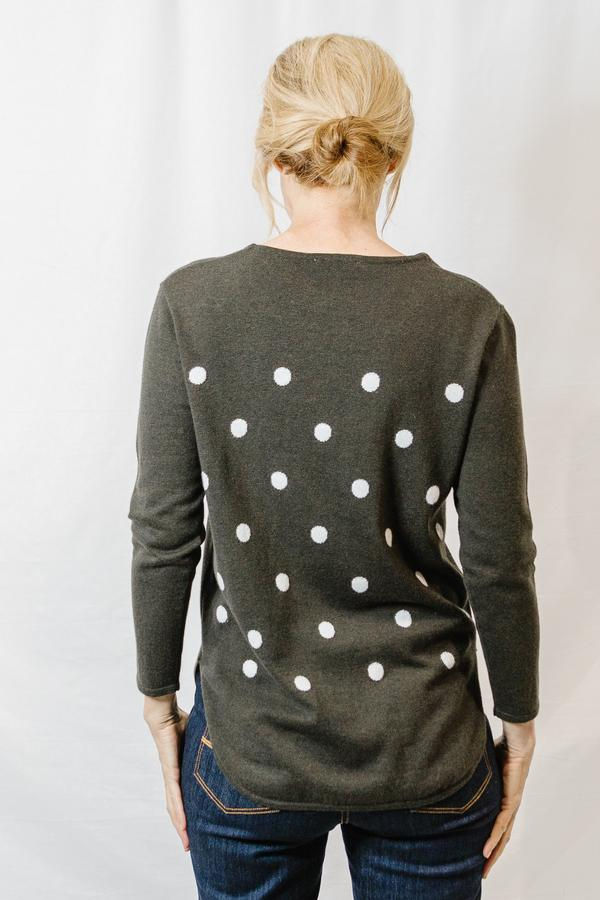 Goondiwindi Cotton Wool/Cotton Blend Spot Jumper - Loden/Snowflake