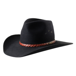 The Black Akubra Golden Spur Hat features a rolled bonded leather plaited band, satin lining and eyelet vents. Make the most of reduced prices on all of our Akubras online, and receive free shipping if you spend over $200.