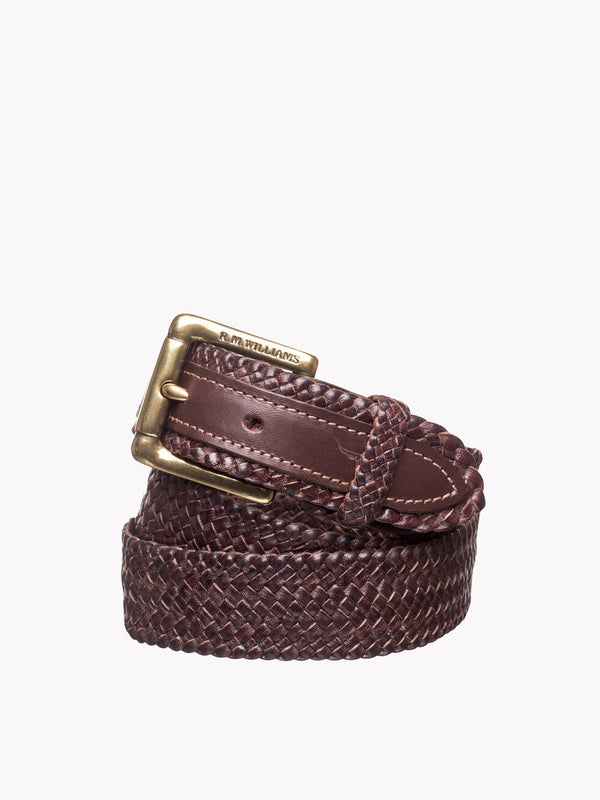 "R.M. Williams 1 1/4"" Plaited Buckle Belt"