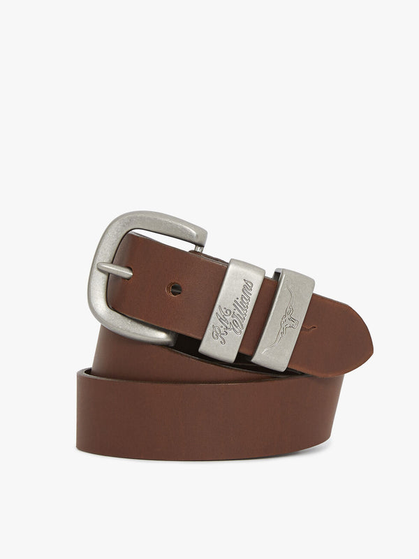 "R.M. Williams 1 1/2"" 3 Piece Solid Hide Belt - Dark Tan"