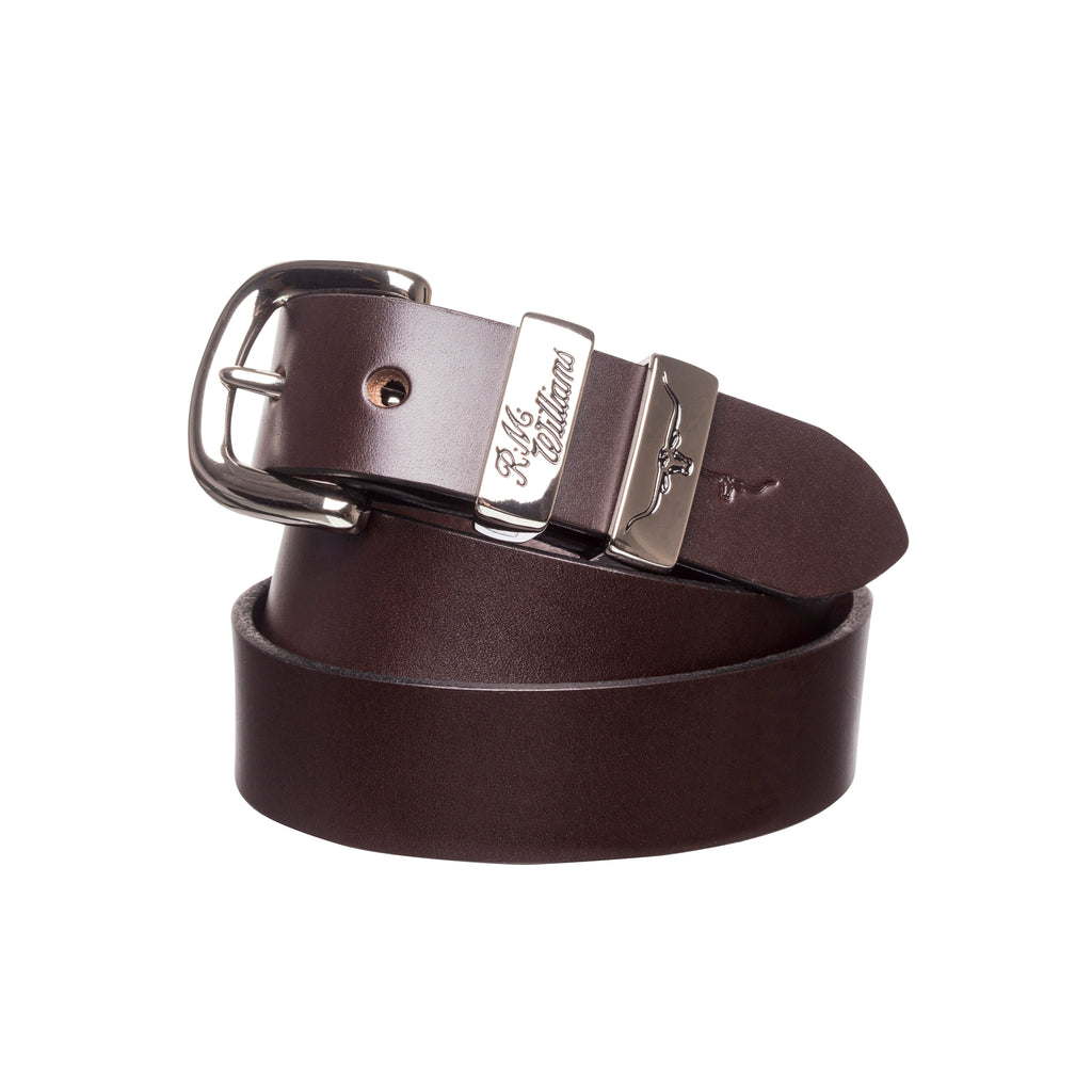 "R.M. Williams 1 1/4"" 3 Piece Solid Hide Belt - Chestnut"