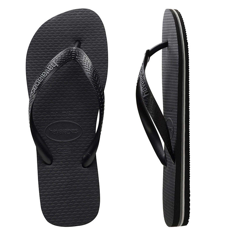 Mens Havaianas Black/Steel Thongs