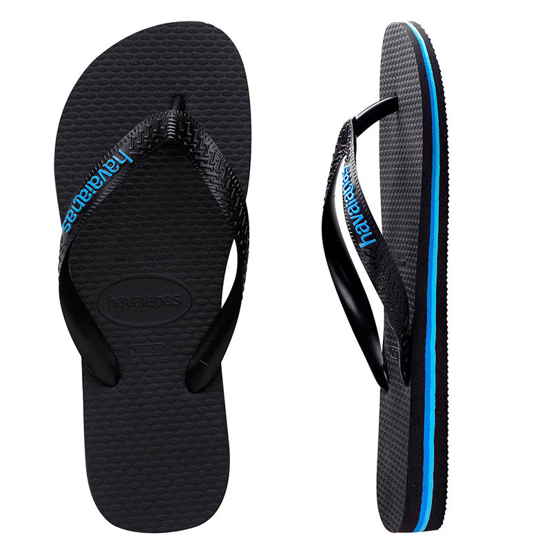 Mens Havaianas Black/Blue Logo Thongs