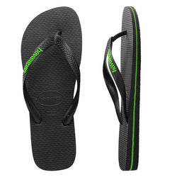 Mens Havaianas Black/Neon Green Logo Thongs