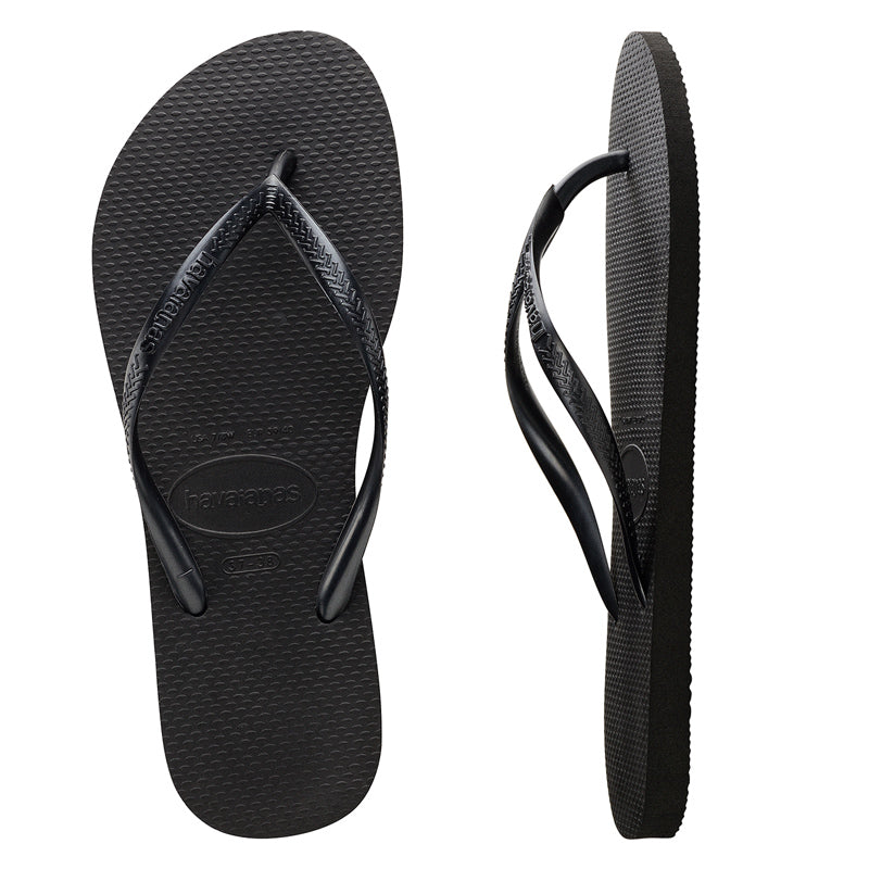 Womens Havaianas Slim Basic Black Thongs