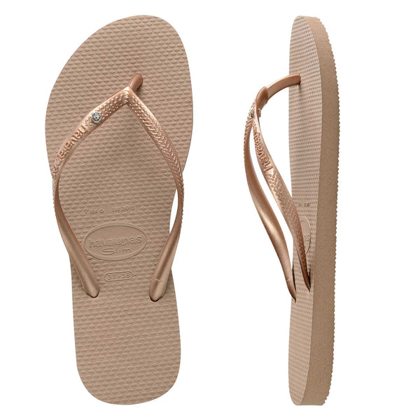 Womens Havaianas Slim Crystal Rose Gold
