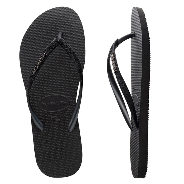 Womens Havaianas Slim Metal Logo Glitter Black Thongs