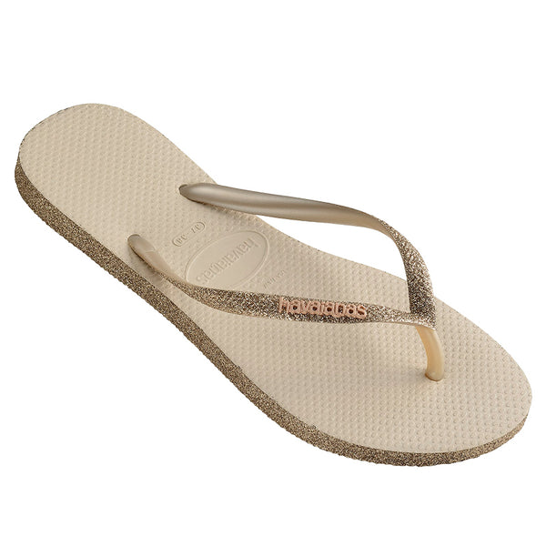 Womens Havaianas Slim Sparkle Gold Thongs