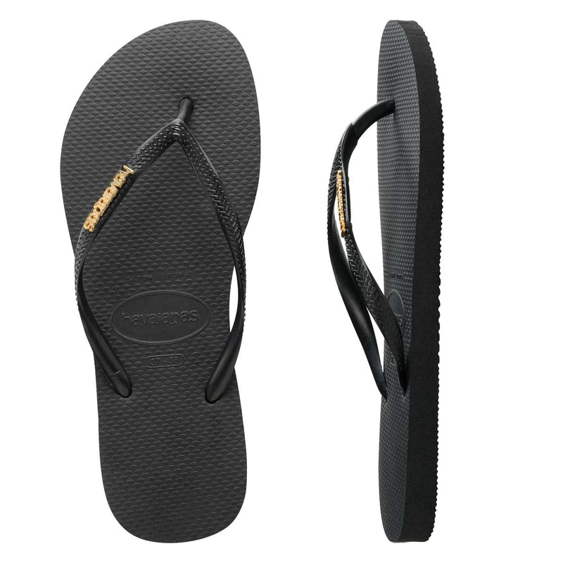 Womens Havaianas Slim Black/Gold Metal Logo Thongs