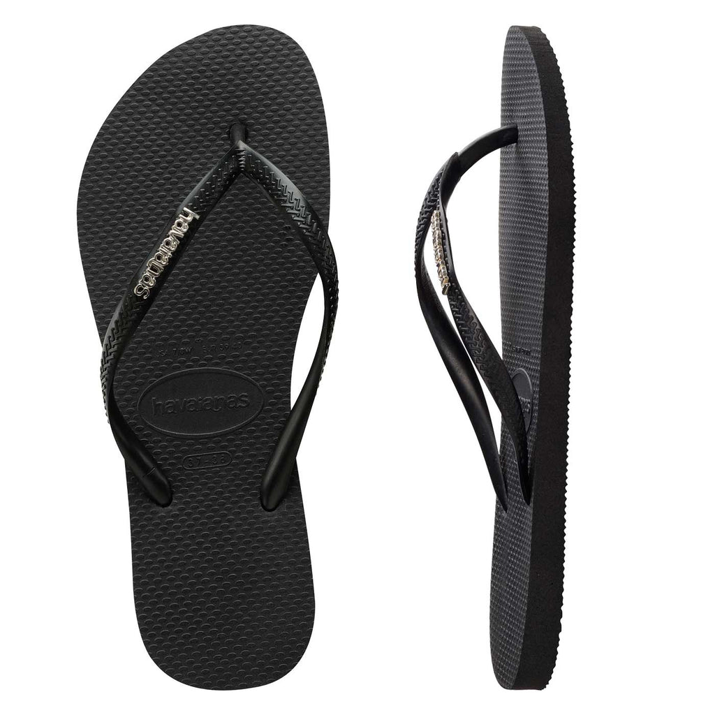 Womens Havaianas Slim Black/Silver Logo Thongs