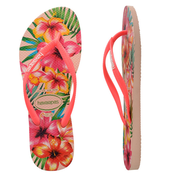 Womens Havaianas Slim Hibisco Ballet Rose Thongs