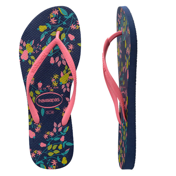 Womens Havaianas Slim Romance Navy Blue Thongs