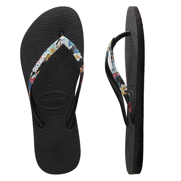 Womens Havaianas Slim Strapped Floral Balck Thongs
