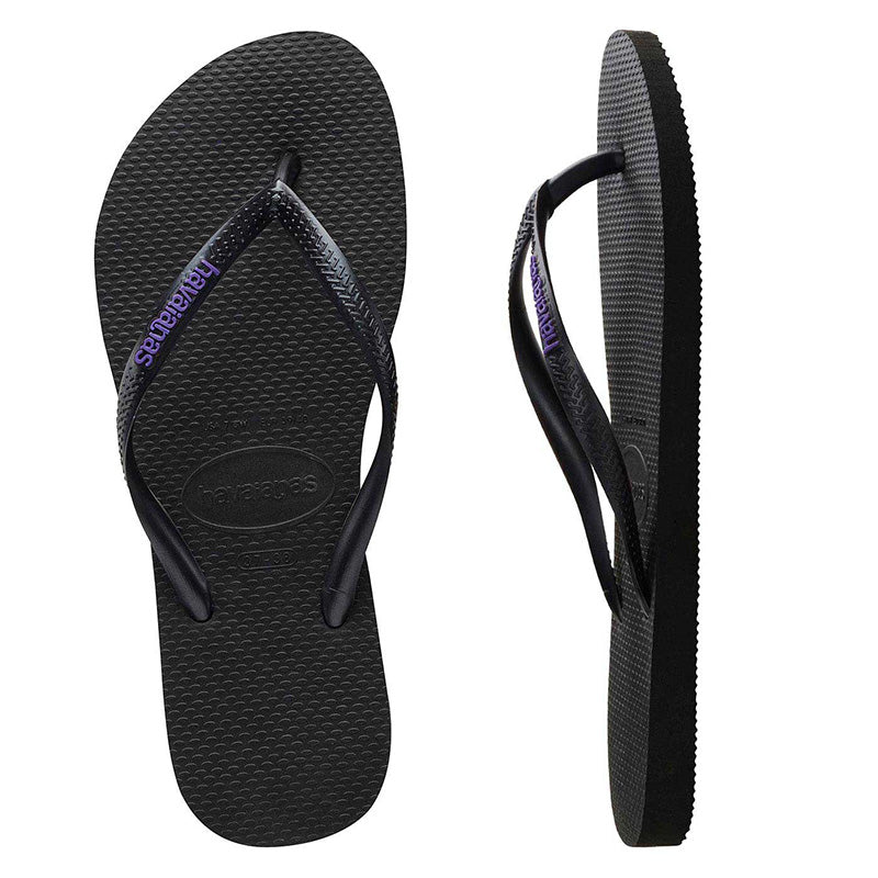 Womens Havaianas Slim Black/Lilac Logo Thongs