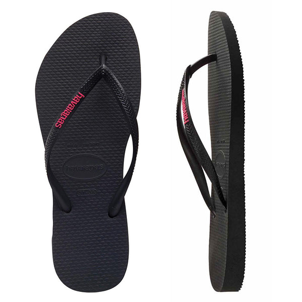 Womens Havaianas Slim Black/Pink Logo Thongs