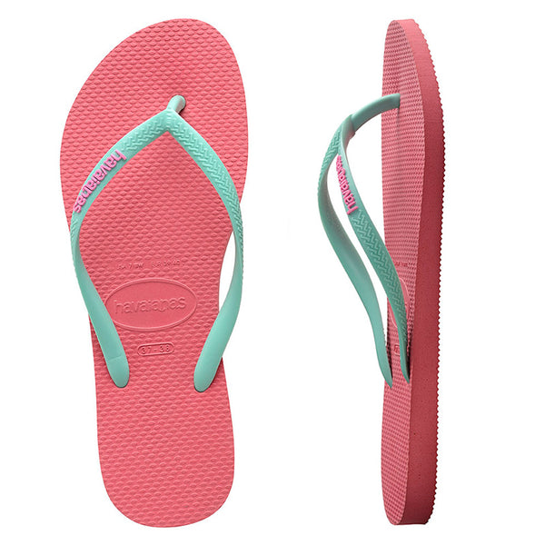 Womens Havaianas Slim Rubber Logo Porcelain Rose/Green Dew Thongs