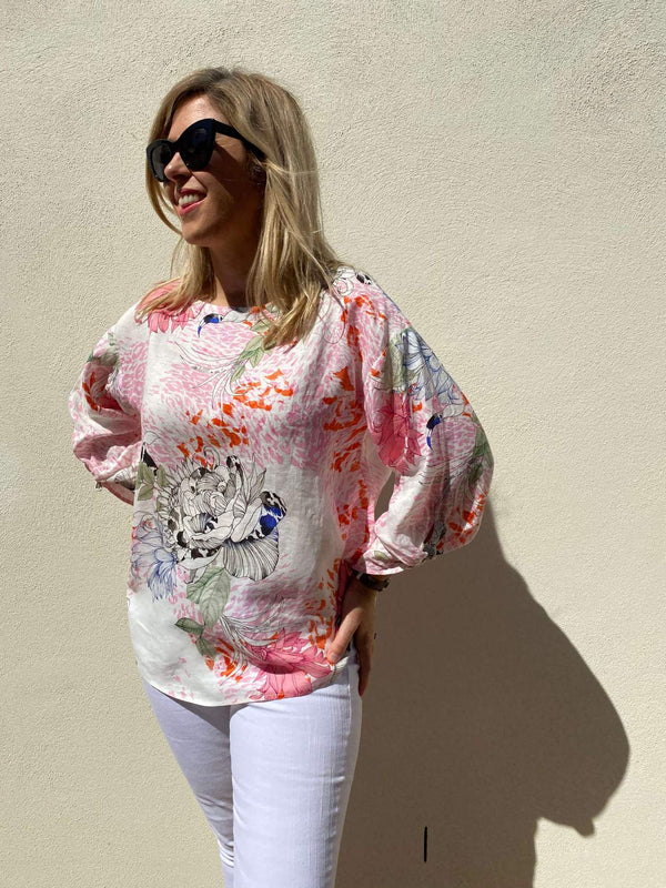 Goondiwindi Cotton Soft Floral Print 100% Linen 3/4 Sleeve Top with Ties