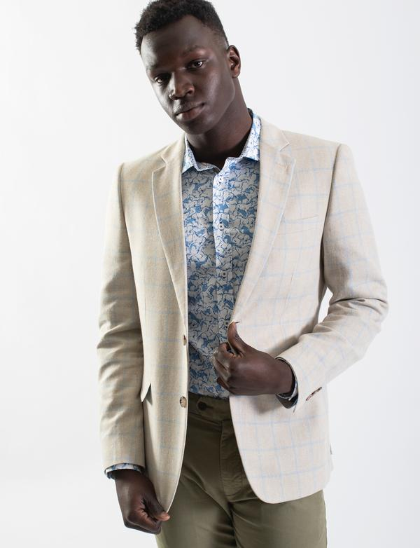 James Harper Stone Textured Windowpane Check Blazer