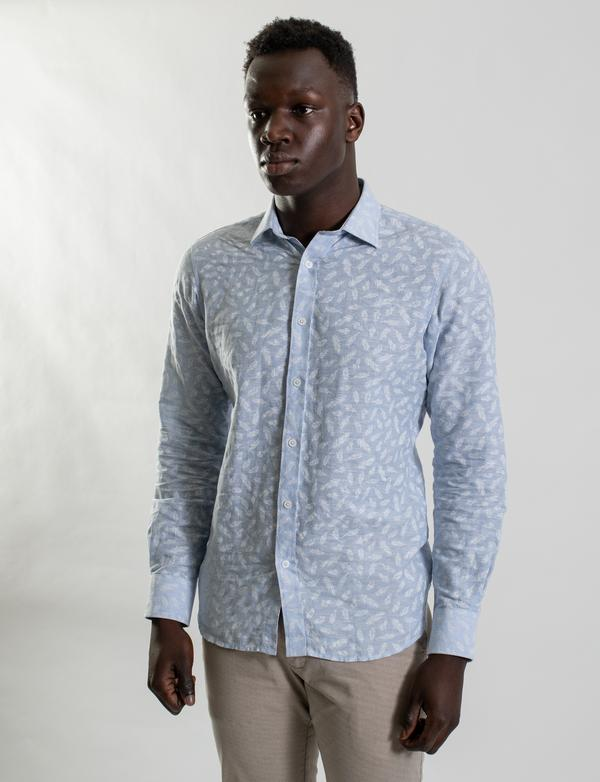 James Harper Light Blue Feather Print Shirt
