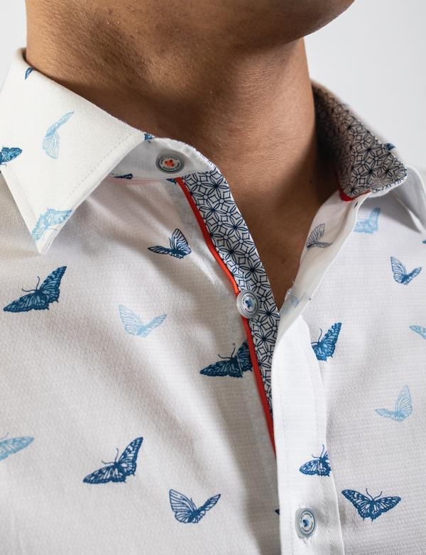 James Harper Butterfly Swarm Print Shirt