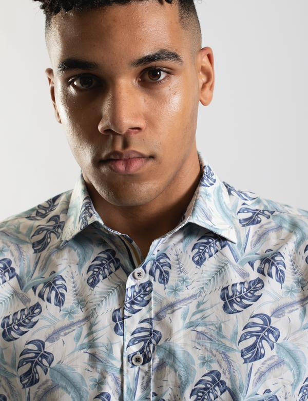 James Harper Tropical Palm Print Short Sleeve Shirt - Blue & White