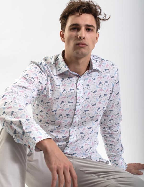 James Harper Michael Leunig Butterfly Net Print Shirt (Limited Edition)