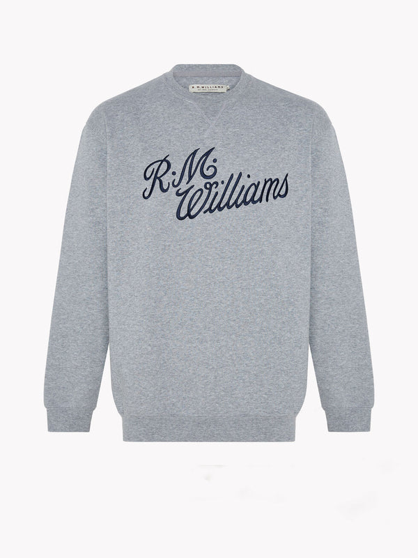 R.M. Williams Mens Script Crew Neck Jumper - Grey