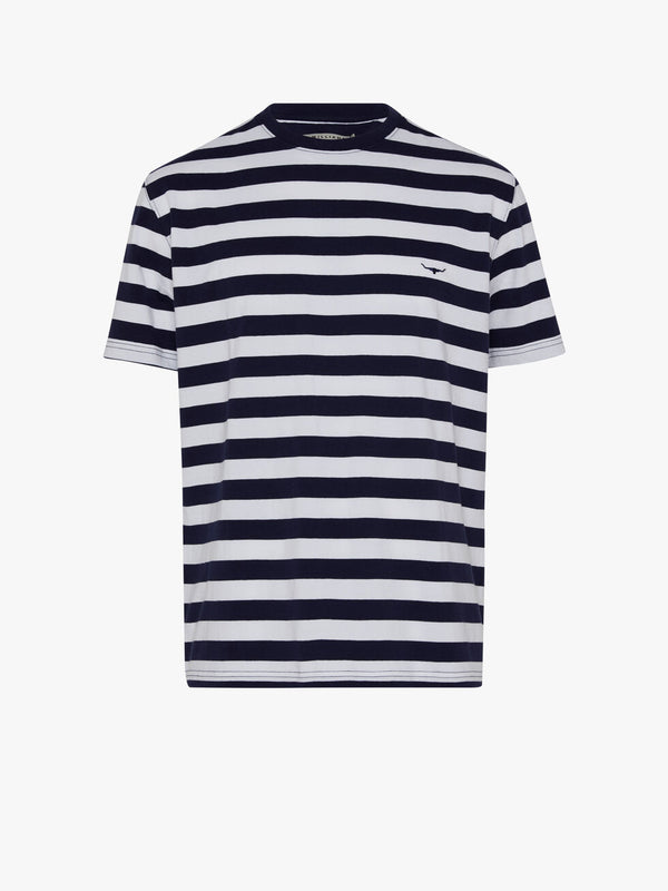 R.M. Williams Parson Stripe T-Shirt - Navy/White