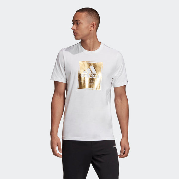Adidas Mens Logo Box Foil Tee - White