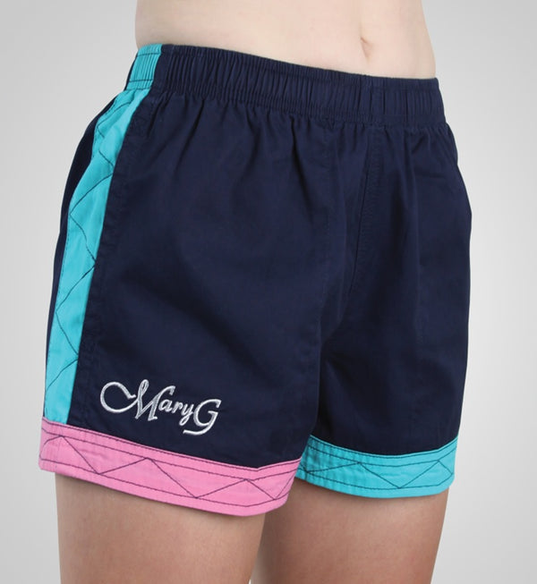Mary G Ladies Australian Cotton Panel Shorts - French Navy/Turquoise/Blossom Pink - Low Rise