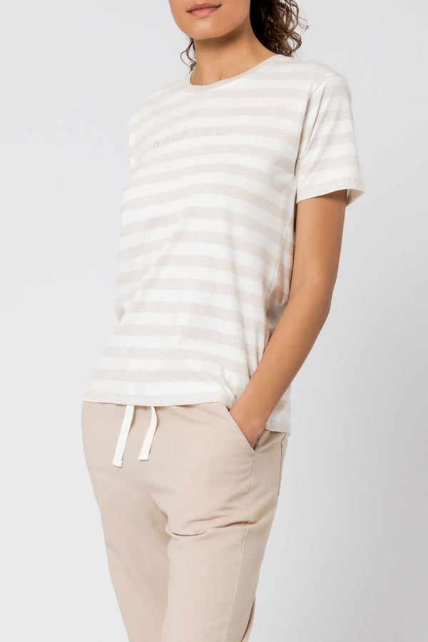 Nude Lucy Stripe Slogan Tee - Cream
