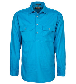 Ritemate Mens Closed Front Long Sleeve Shirt - Azure